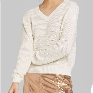 Wild Fable | V-Neck Cream Shimmer Sweater